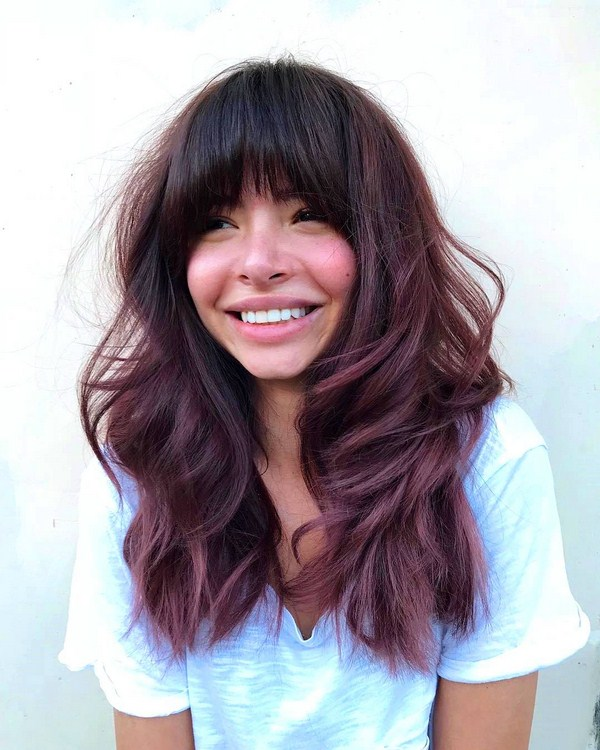 pink and black long hairstyle for woman