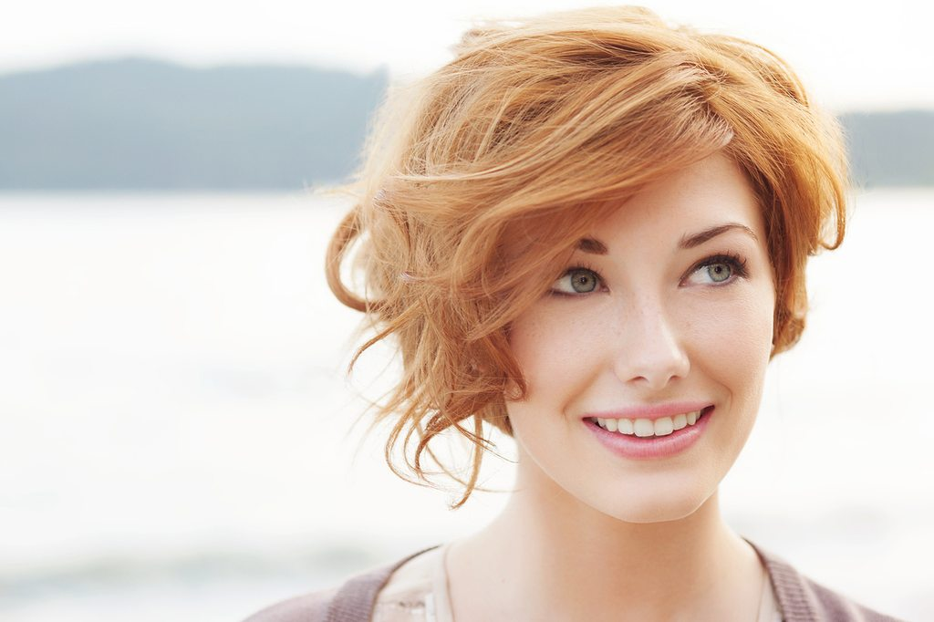 short and light red hairstyle