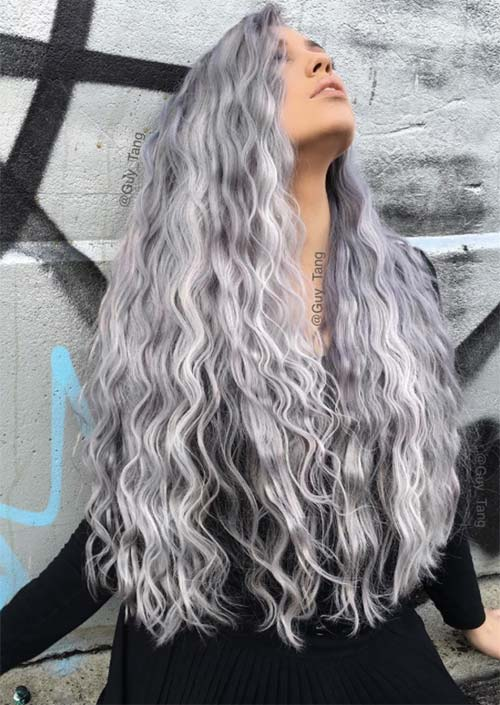 Long Curly Hairstyles Platin Color